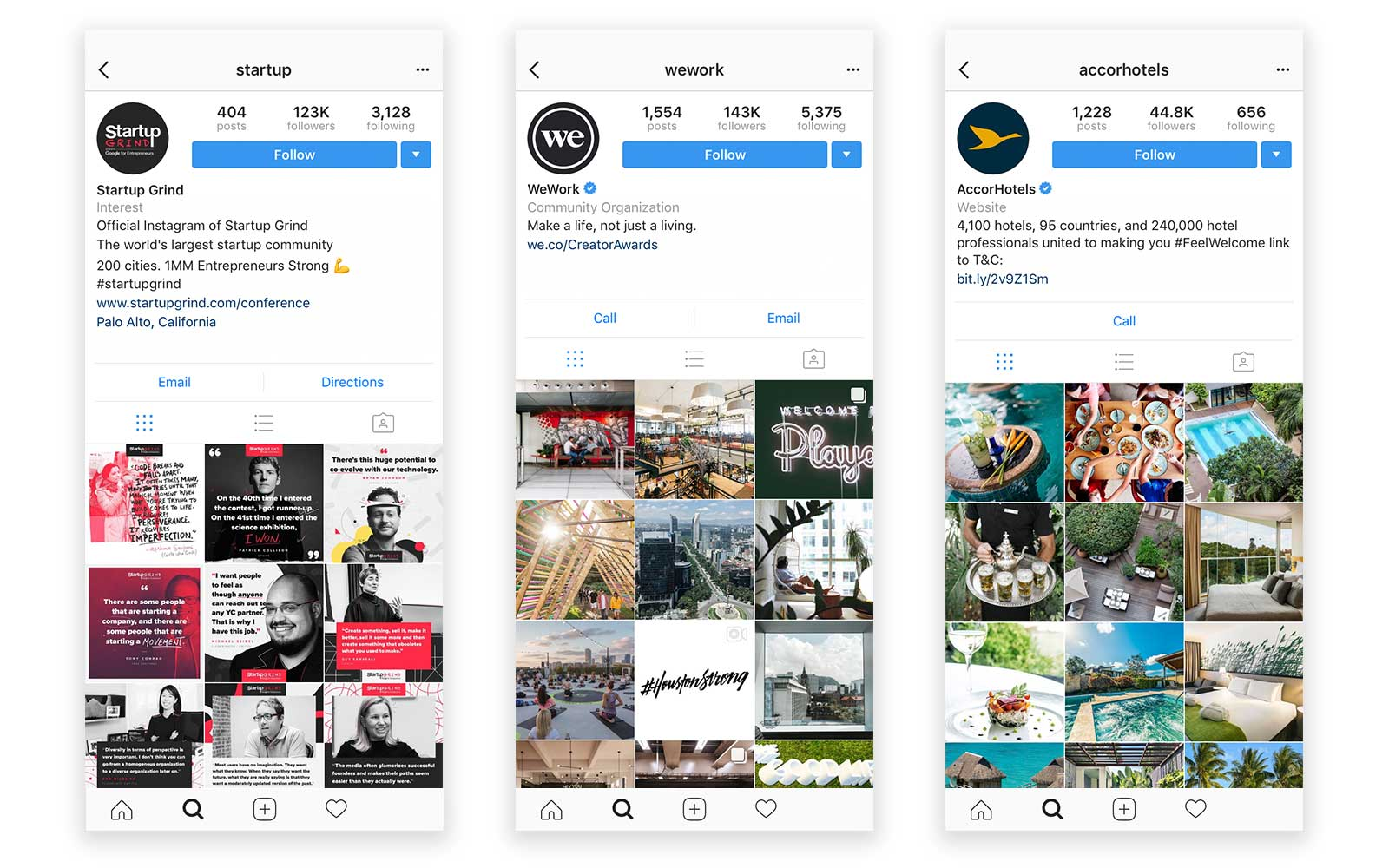 instagram accounts startupgrind wework accorhotels