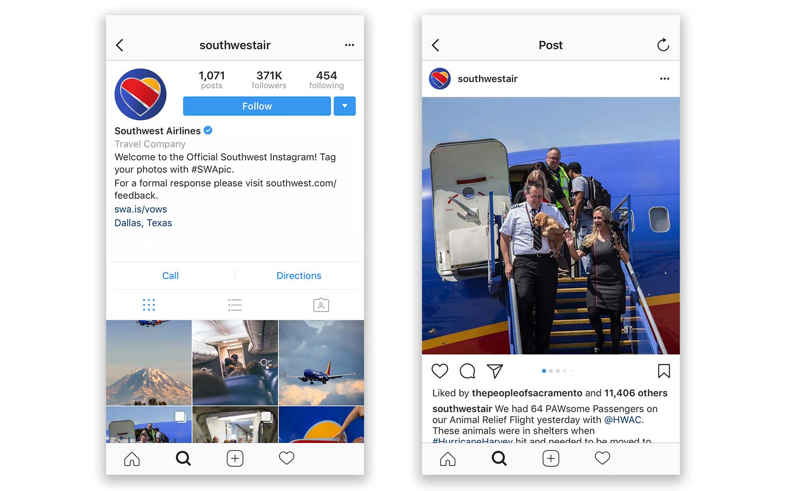 instagram account southwestair