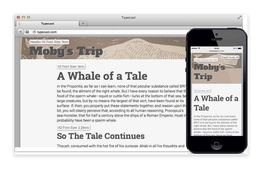 web design mobile font size